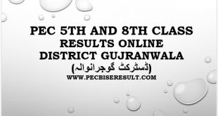 PEC 5th and 8th Class Result 2021 Gujranwala