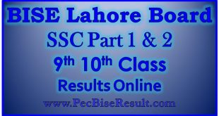 BISE Lahore Board Matric Result 2020