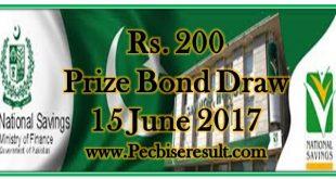 Prize Bond List 200 June 2017