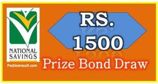 Rs. 1500 Prize Bond List 15 August 2017