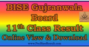 BISE Gujranwala Board 11th Class Result 2018