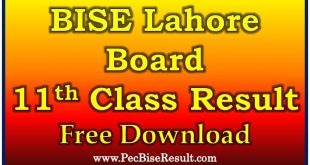 BISE Lahore Board 11th Class Annual Result 2020