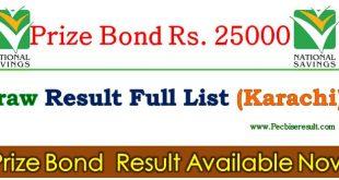 25000 Prize Bond List 01 November 2017