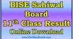 BISE Sahiwal Board 11th Class Result 2020