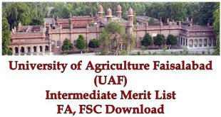 UAF Intermediate FA FSC Merit Lists 2018 Download Agriculture University Faisalabad