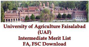 UAF Intermediate FA FSC Merit Lists 2021 Download Agriculture University Faisalabad