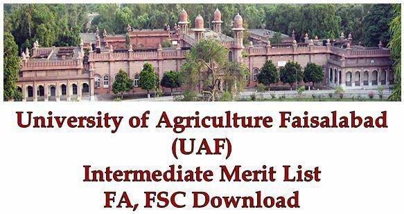 UAF Intermediate FA FSC Merit Lists 2018 Download Agriculture University Faisalabad