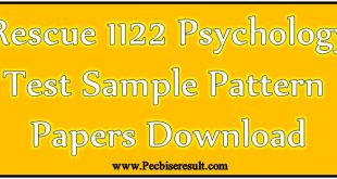 Psychometric/Psychology NTS Jobs Rescue 1122 Sample Test Papers 2018 Download