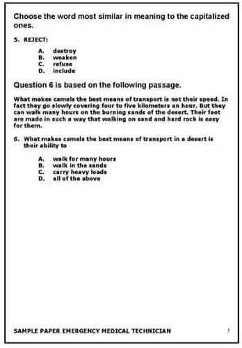 Rescue 1122 NTS Jobs EMT Test Papers