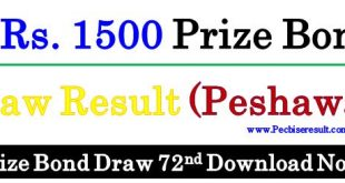 1500 Prize Bond List 15 November 2017 Peshawar