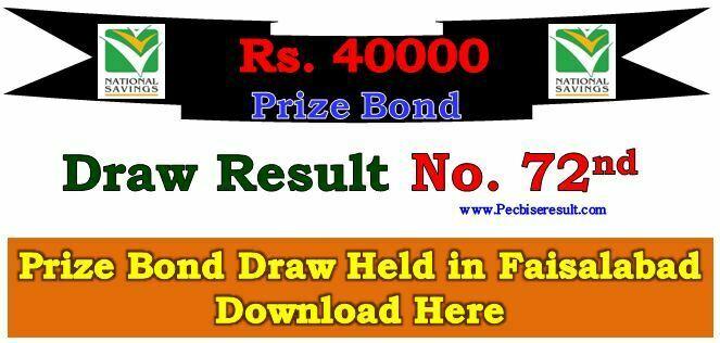 Faisalabad 40000 Prize Bond List 01 December 2017