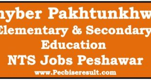 Peshawar NTS Elementary & Secondary Education Jobs 2017 Khyber Pakhtunkhwa