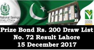 Rs. 200 Prize Bond List December 15, 2017 Draw No. 72 Result Held in Lahore
