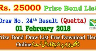 Rs. 25000 Prize Bond Draw List 01 February 2018
