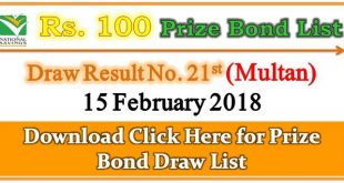 Draw List 100 Prize Bond Multan February 15 2018