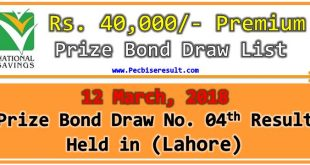 Rs. 40000 Premium Prize Bond List 12 March 2018 Lahore