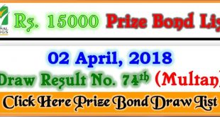 Prize Bond Draw List 15000 Multan 02 April 2018