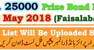 Prize Bond Draw List 25000 May 02 2018 Faisalabad