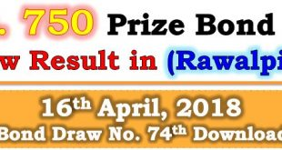 Rawalpindi 750 Prize Bond Draw List 16 April 2018