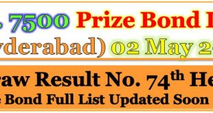 Prize Bond Draw List 7500 May 02 2018 Hyderabad