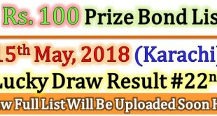 Prize Bond Draw List 100 May 15 2018 Karachi