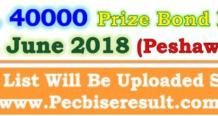 Peshawar Prize Bond Draw List 40000 June 2018