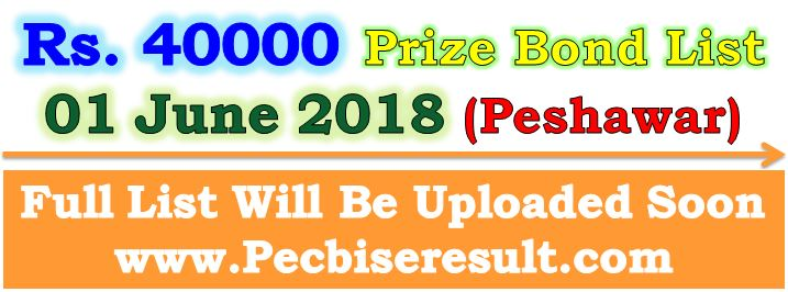 Peshawar Prize Bond Draw List 40000 June 2018