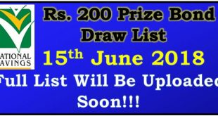 Prize Bond Draw List 200 June 15 2018