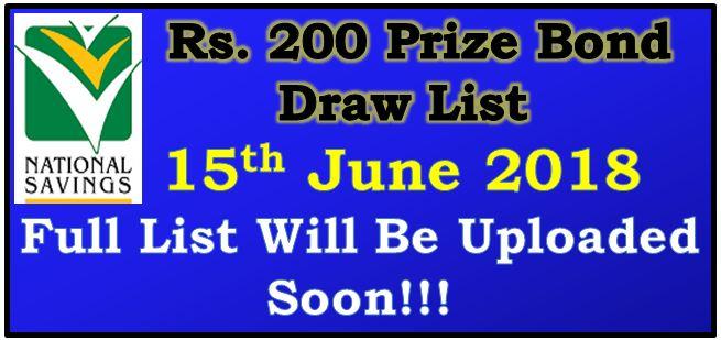 Prize Bond Draw List 200 June 15 2018