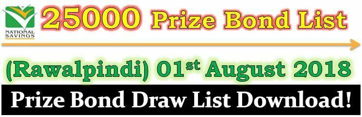 Prize Bond Draw List 25000 August 01 2018