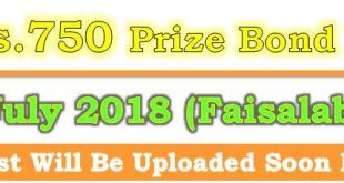 Prize Bond Draw List 750 July 16 2018