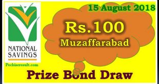 Prize Bond Draw List 100 August 15 2018