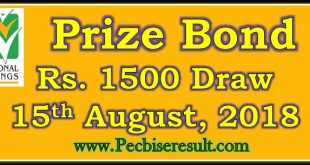 Prize Bond Draw List 1500 August 15 2018