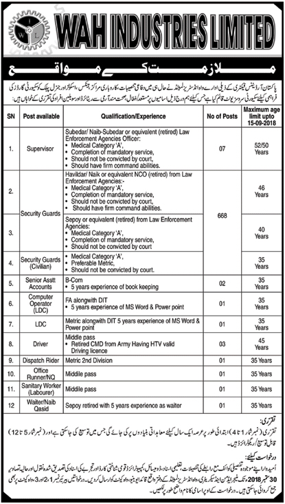 Security Guard Jobs WAH Industries Limited Islamabad 20 Sep 2018