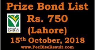 Prize Bond Draw List 750 October 15 2018