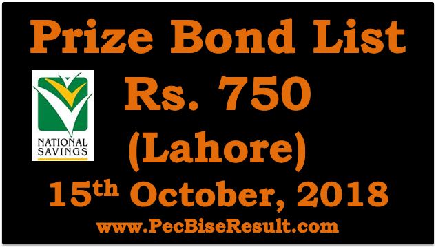 Prize Bond Draw List 750 October 15 2018