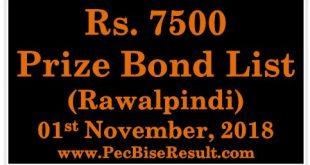 Prize Bond Draw List 7500 November 01 2018 at Rawalpindi