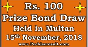 Prize Bond Draw List 100 November 15 2018