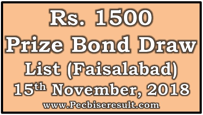 Prize Bond Draw List 1500 November 15 2018