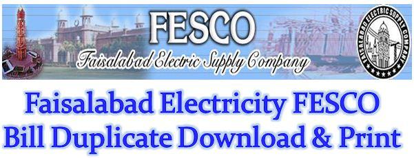 FESCO Bill Duplicate Download & Print Faisalabad Electricity Bill