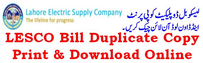 Lahore Electricity Duplicated LESCO Bill Download & Print