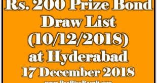 Rs. 200 Prize Bond Draw List 17 December 2018 Hyderabad Draw No. 76 Result