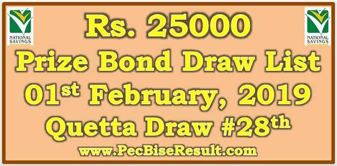 Prize Bond Result 25000 February 01 2019