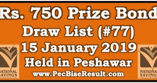 Prize Bond Draw List 750 January 15 2019 Peshawar