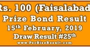 Prize Bond Result 100 February 15 2019
