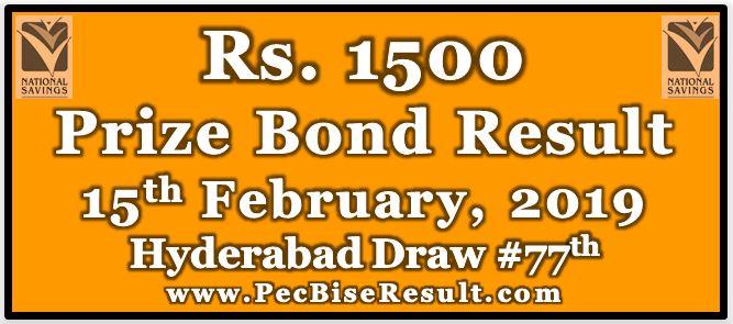 Prize Bond Result 1500 February 15 2019