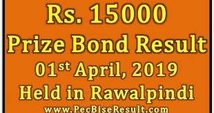 Prize Bond Result 15000 April 01 2019