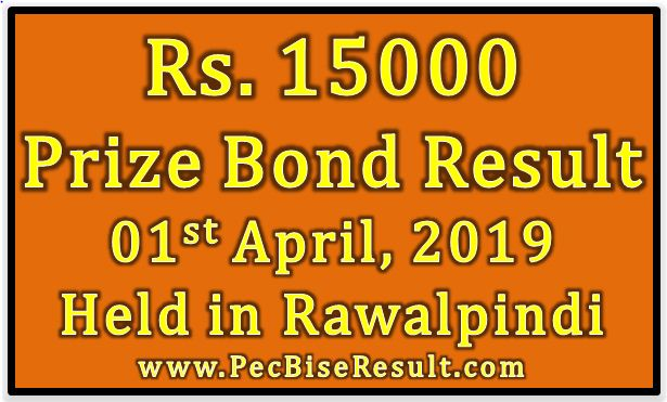 Prize Bond Result 15000 April 01 2019