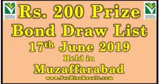 Prize Bond Draw List 200 June 17 2019