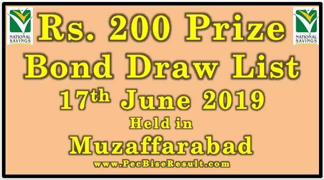 Prize Bond Draw List 200 June 17 2019